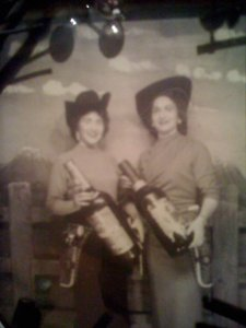 (apologies for the poor quality) My Aunt Myrtle and my sweet mama at the Houston Fatstock Show, circa 1958
